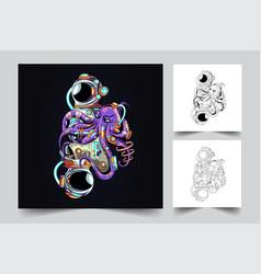 Astronaut and octopus artwork vector