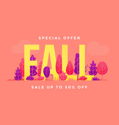 autumn sale shopping season forest leaves banner vector image
