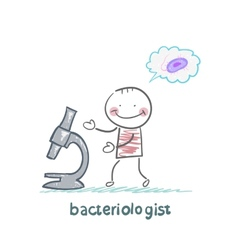 Bacteriologist thinking about germs and looks vector