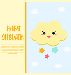 Bashower card design template with cute cloud vector