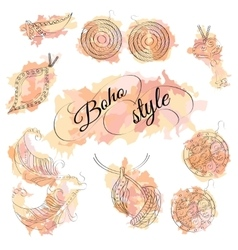Boho style watercolor spots with jewelery vector