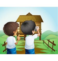 Boys taking photos at farm vector
