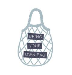 Bring your own bag zero waste concept vector