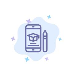 cap education graduation mobile pencil blue icon vector image