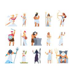 Cartoon greek gods members divine pantheon vector