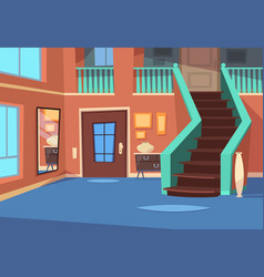 Cartoon hallway house entrance interior with vector