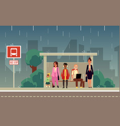 cartoon people standing at city bus stop on rainy vector image