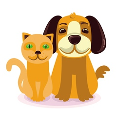cartoon - smiling dog and cat vector image