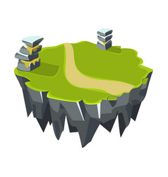 cartoon stone grassy isometric island for game vector image