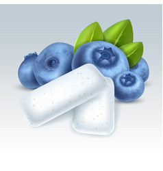 Chewing gum with blueberry flavor vector