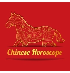 Chinese horoscope background with golden horse vector