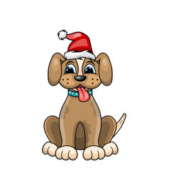 christmas dog portrait in red santa hat character vector image