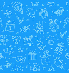 christmas doodling seamless pattern vector image