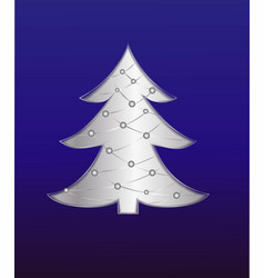 christmas tree card with paper effect vector image
