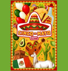 cinco de mayo mexican sombrero and cactus tequila vector image