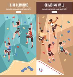 climbing vertical banners set vector image
