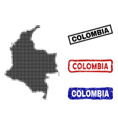 colombia map in halftone dot style with grunge vector image
