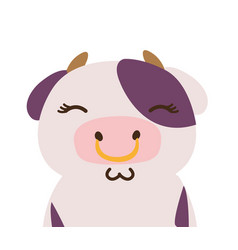 Colorful adorable and shy cow wild animal vector