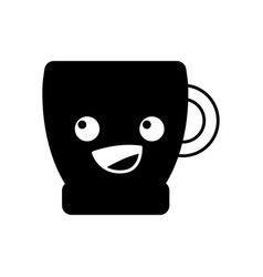 Contour happy coffee cup kawaii cartoon vector
