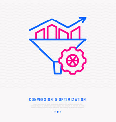 conversion and optimization thin line icon vector image