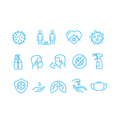 Coronavirus protection campaign icons set vector