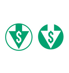 Cost price dollar decrease exchange index icon vector