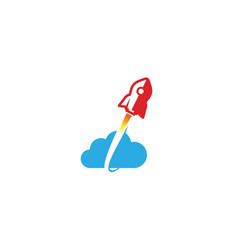 Creative red rocket blue cloud symbol logo vector