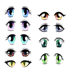 Cute bright eyes of different colors set vector
