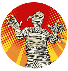 egyptian mummy walking pop art avatar character vector image