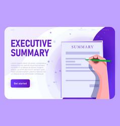 Executive summary concept landing vector
