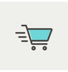 Fast delivery shopping cart thin line icon vector image