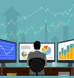 financial trader on workplace stock market data vector image