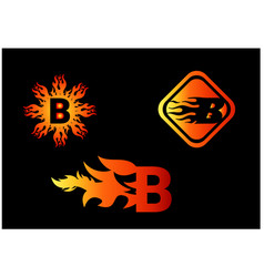Fire b letter logo and icon design template vector