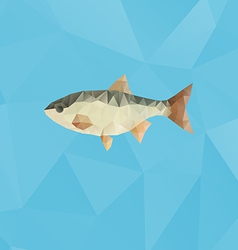 Fish made with triangles on blue polygonal vector image