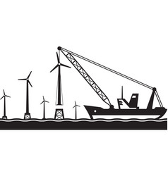 floating crane installing wind turbine in the sea vector image