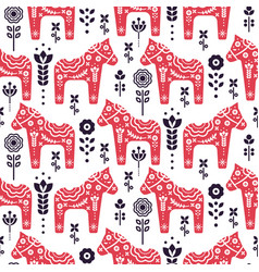 folk swedish horse floral seamless pattern vector image
