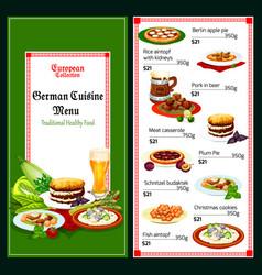 German and bavarian cuisine menu vector