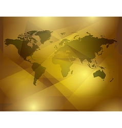 Gold abstract background with map of world vector