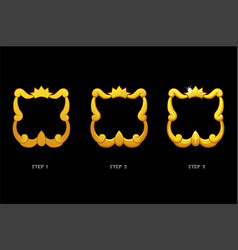 gold frame templates with crown blank avatar 3 vector image