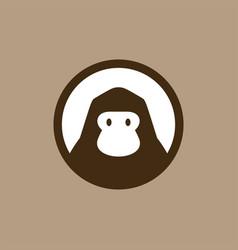 gorilla in round emblem logo icon vector image