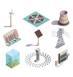 green energy isometric icons vector image