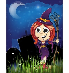 Halloween witch girl in the cemetery vector
