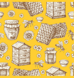 Hand drawn honey seamless pattern with jars bee vector