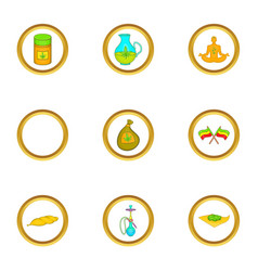 Hashish icon set cartoon style vector
