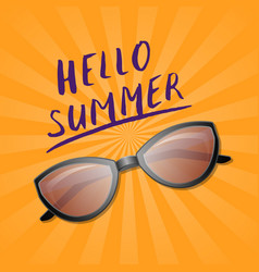 hello summer trendy poster with sunglasses vector image