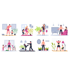 home family fitness mother father and kids vector image