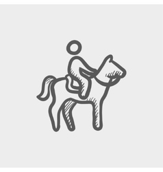 Horse riding sketch icon vector image