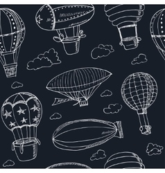 Hot Air Balloons doodle seamless pattern Vintage vector