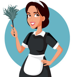 Hotel maid with feather duster cartoon vector