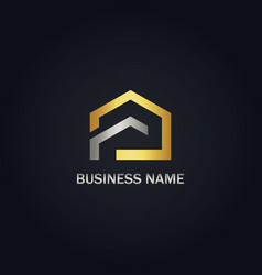 house realty gold logo vector image